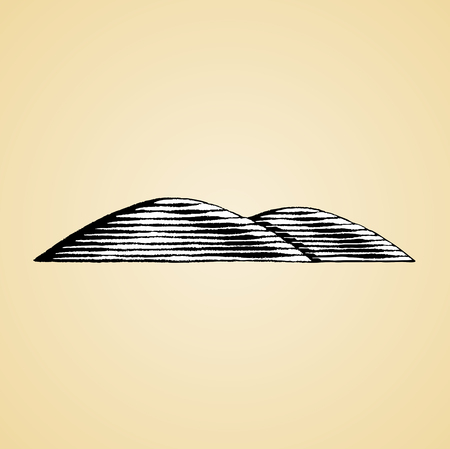 Vector Illustration of a Scratchboard Style Ink Drawing of Hills with White Fill Illustration