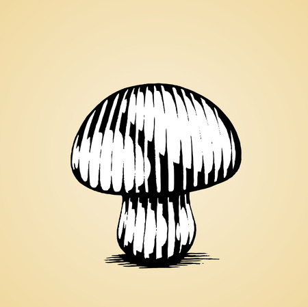 scratchboard: Vector Illustration of a Scratchboard Style Ink Drawing of a Mushroom with White Fill Illustration