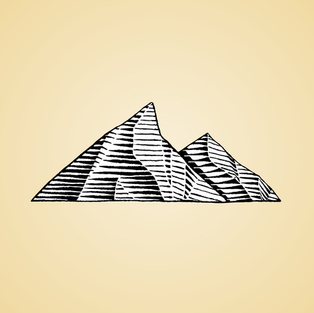 Vector Illustration of a Scratchboard Style Ink Drawing of Mountains with White Fill