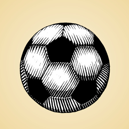 Vector Illustration of a Scratchboard Style Ink Drawing of a Soccer and Football Ball with White Fill