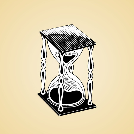 Vector Illustration of a Scratchboard Style Ink Drawing of an Hourglass with White Fill