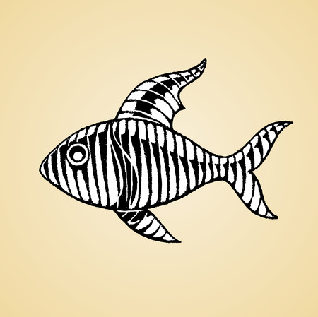 Vector Illustration of a Scratchboard Style Ink Drawing of a Striped Fish with White Fill Illustration