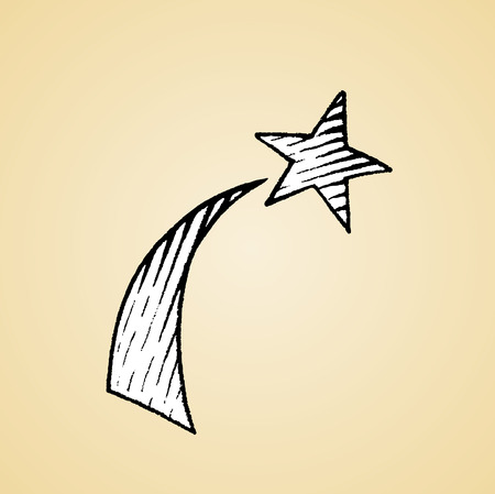 artwork: Vector Illustration of a Scratchboard Style Ink Drawing of a Shooting Star with White Fill