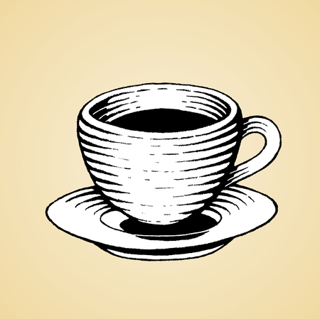 Vector Illustration of a Scratchboard Style Ink Drawing of a Coffee Cup with White Fill Illustration