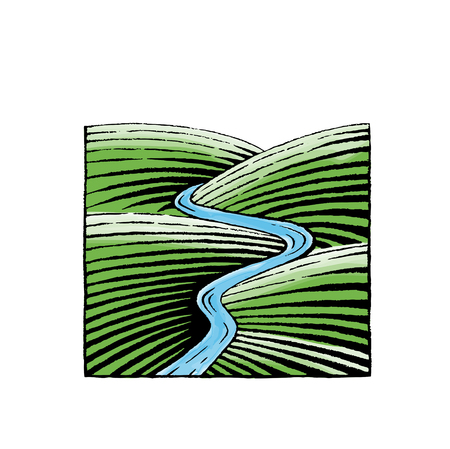 isolated: Vector Illustration of a Scratchboard Style Ink and Watercolor Drawing of Hills and River Illustration