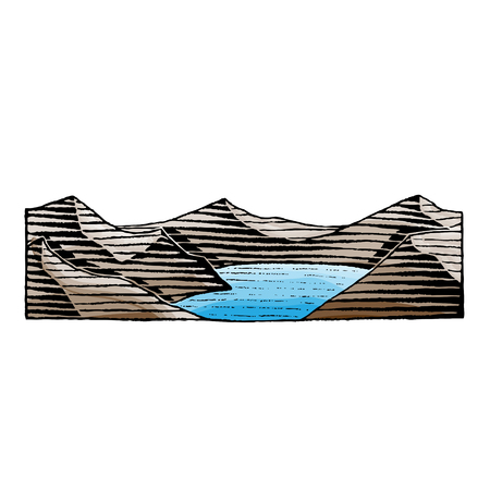 retro: Vector Illustration of a Scratchboard Style Ink and Watercolor Drawing of a Mountain Lake