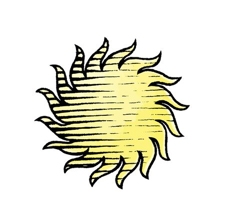 Vector Illustration of a Scratchboard Style Ink and Watercolor Drawing of Sun
