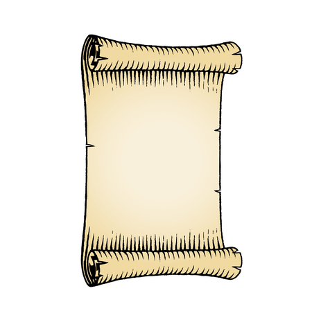 antique: Vector Illustration of a Scratchboard Style Ink Drawing of an Old Banner with Beige Fill.