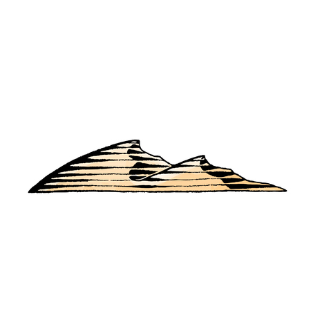Vector Illustration of a Scratchboard Style Ink and Watercolor Drawing of Sand Dunes