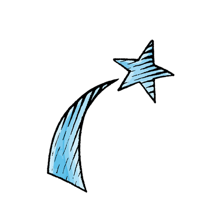 Vector Illustration of a Scratchboard Style Ink and Watercolor Drawing of a Shooting Star
