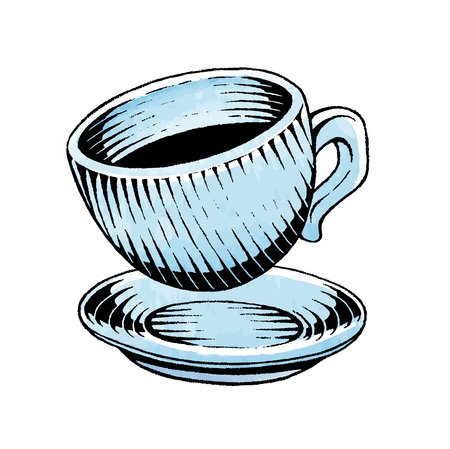 Vector Illustration of a Scratchboard Style Ink and Watercolor Drawing of a Coffee Cup