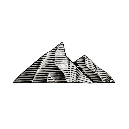 Vector Illustration of a Scratchboard Style Ink and Watercolor Drawing of Mountains.