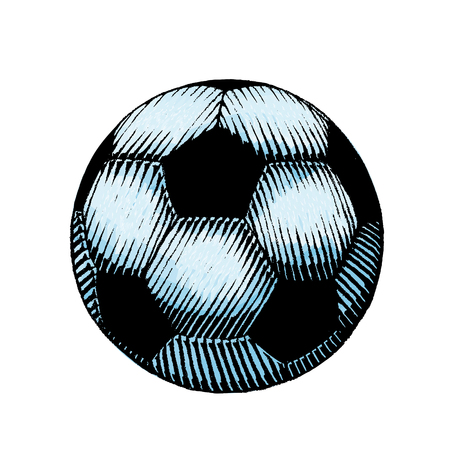 Vector Illustration of a Scratchboard Style Ink and Watercolor Drawing of a Soccer and Football Ball