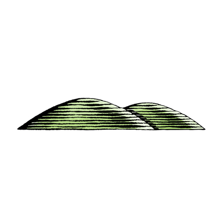 Vector Illustration of a Scratchboard Style Ink and Watercolor Drawing of Hills. Illustration
