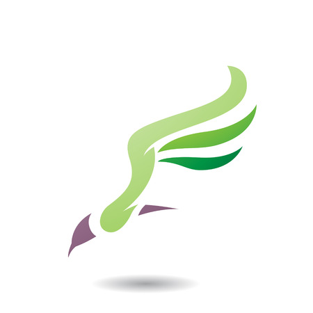 layout: Design Concept of Long Wing Bird Icon, Vector Illustration Isolated on a White Background
