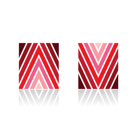 Design Concept of Arrow Shaped A and V Line Icons, Vector Illustration Isolated on a White Background