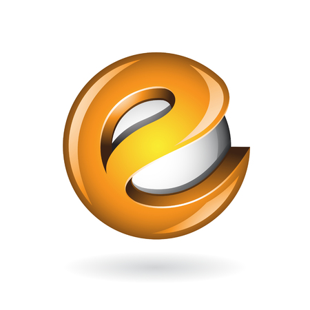 Round Glossy Letter E 3d Orange Logo Shape Vector Illustration