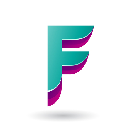 Vector Illustration of a Layered 3d Persian Green Icon for Letter F isolated on a White Background
