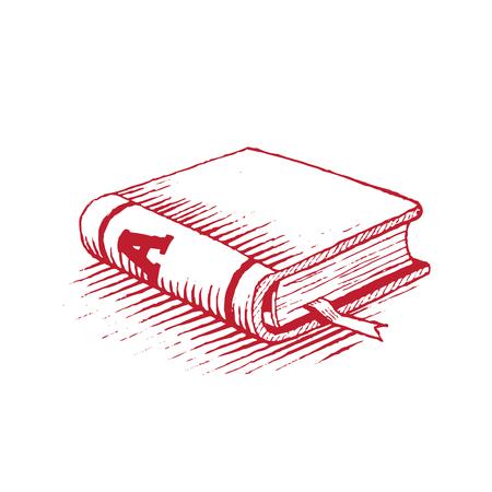 Gevectoriseerde inkttekening van een rood boek geïsoleerd op een witte achtergrond