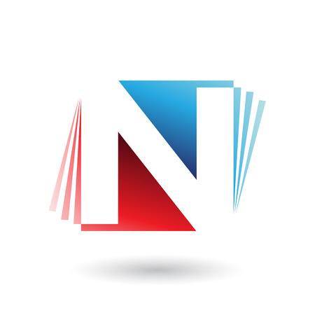 Vector Illustration of Red and Blue Letter N with Vertical Stripes isolated on a White Background Illusztráció