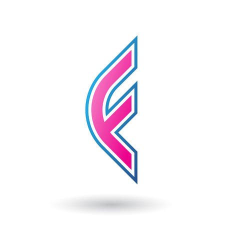 Vector Illustration of a Magenta Letter F Icon with Round Corners and Outer Stripes isolated on a White Background