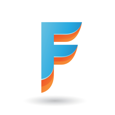 Vector Illustration of a Layered 3d Blue Icon for Letter F isolated on a White Background Ilustração