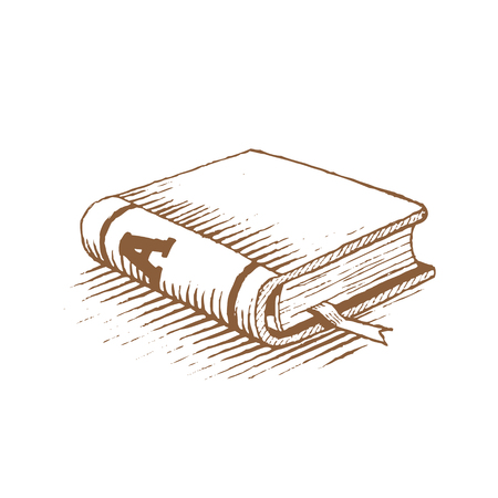 Vectorized Ink Drawing of a Brown Book isolated on a White Background