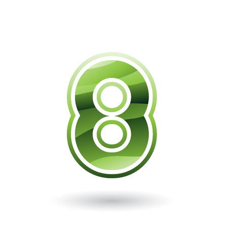 Vector Illustration of a Green Round Icon for Number 8 isolated on a White Background