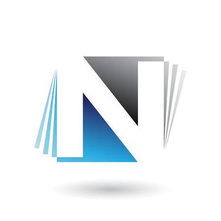 Vector Illustration of Blue and Black Letter N with Vertical Stripes isolated on a White Background