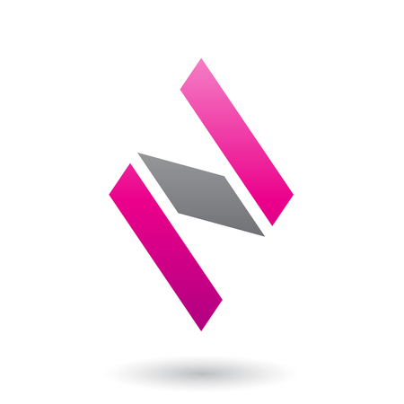 Vector Illustration of Magenta and Black Diamond Shaped Letter N isolated on a White Background Illusztráció