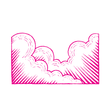 Illustration of Magenta Colored Vectorized Ink Sketch of Clouds isolated on a White Background