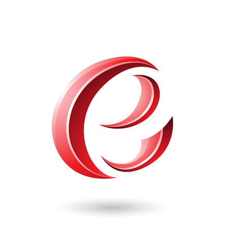 Vector Illustration of Red Glossy Crescent Shape Letter E isolated on a White Background Stock fotó - 108907233