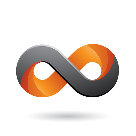 Vector Illustration of Infinity Symbol with Orange and Grey Color Tints isolated on a White Background