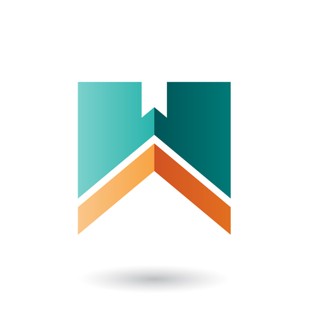 Vector Illustration of Green and Orange Letter W with a Thick Stripe isolated on a White Background