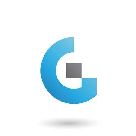 Vector Illustration of Blue Letter G with Rectangular Shapes isolated on a White Background 矢量图像