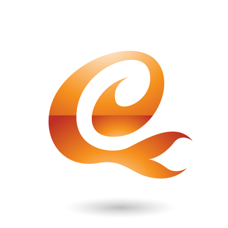 Vector Illustration of Orange Glossy Curvy Fun Letter E isolated on a White Background Illustration