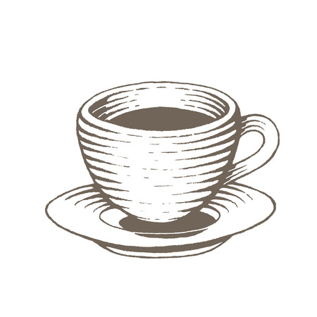 Illustration of Brown Vectorized Ink Sketch of Coffee Cup isolated on a White Background Stock Illustratie