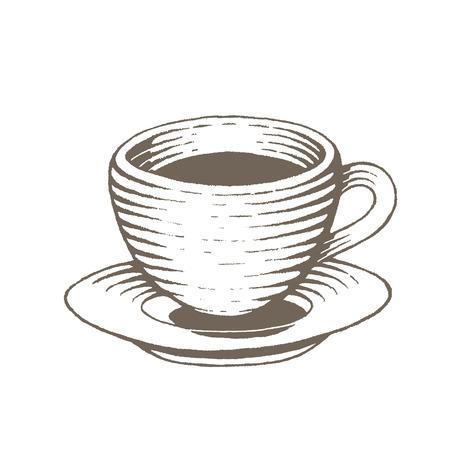 Ilustracja brązowego szkicu tuszem wektorowym filiżanki kawy na białym tle