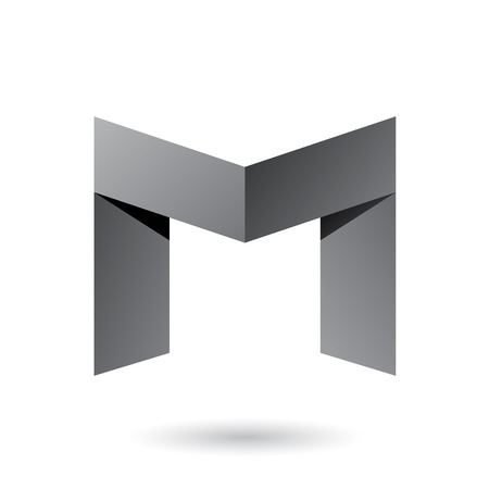 Vector Illustration of Grey Folded Paper Letter M isolated on a White Background Çizim