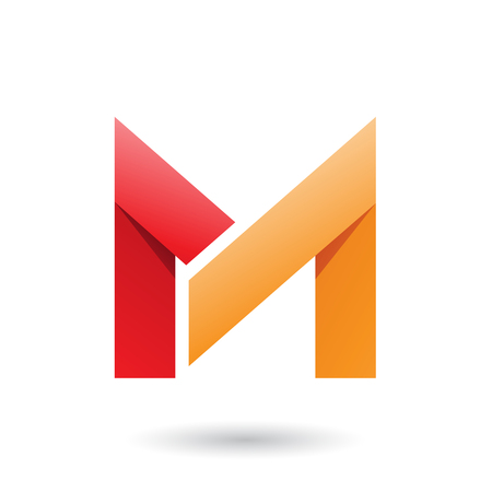 Vector Illustration of Red and Orange Folded Paper Letter M isolated on a White Background