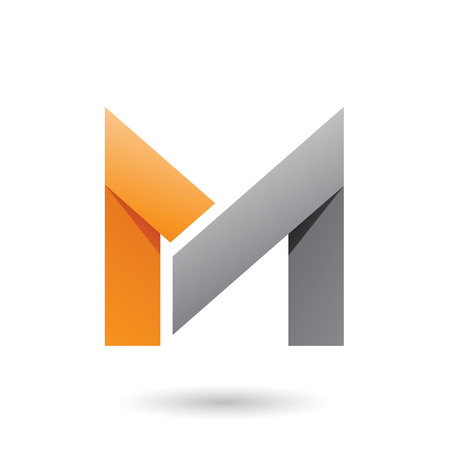 Vector Illustration of Orange and Grey Folded Paper Letter M isolated on a White Background