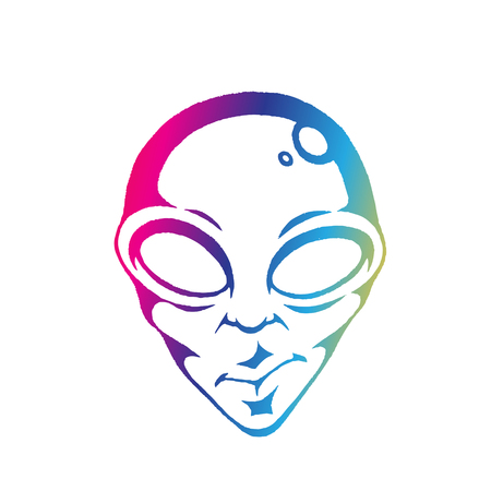 Illustration of Rainbow Colored Vectorized Ink Sketch of Alien Face isolated on a White Background