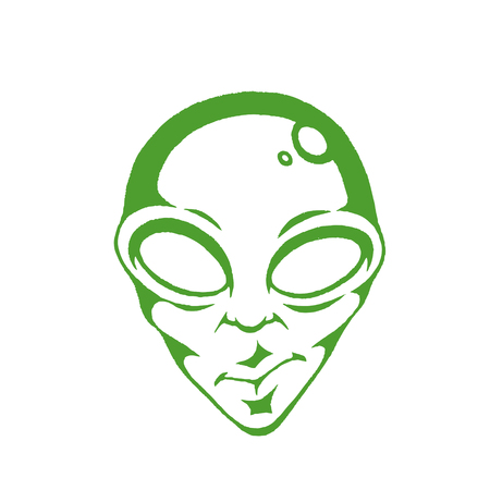 Illustration of Green Vectorized Ink Sketch of Alien Face isolated on a White Background Ilustração