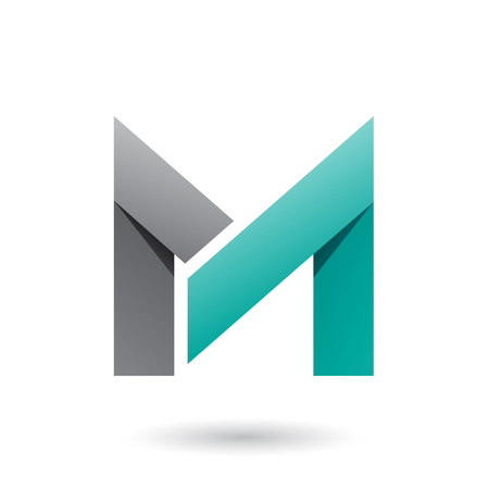 Vector Illustration of Grey and Persian Green Folded Paper Letter M isolated on a White Background Vectores