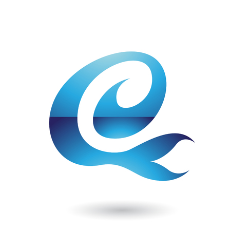 Vector Illustration of Blue Glossy Curvy Fun Letter E isolated on a White Background