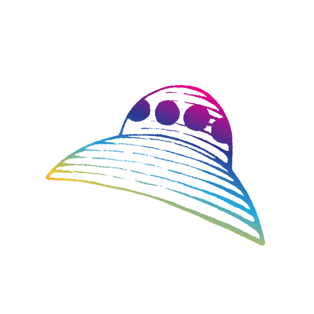 Illustration of Rainbow Colored Vectorized Ink Sketch of Alien Ship isolated on a White Background