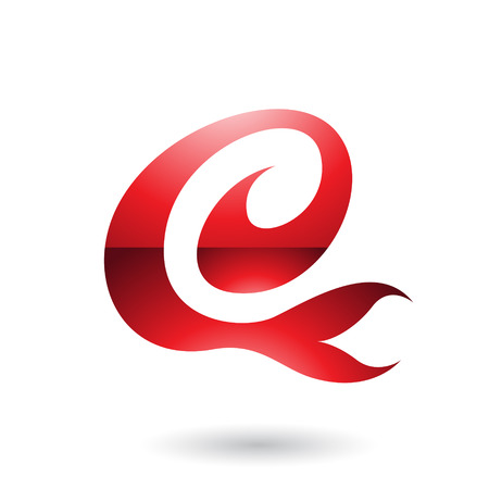 Vector Illustration of Red Glossy Curvy Fun Letter E isolated on a White Background