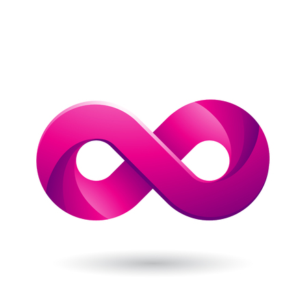 Vector Illustration of Infinity Symbol with Magenta Color Tints isolated on a White Background Illusztráció