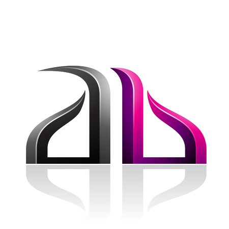 Vector Illustration of Black and Magenta Bow-like Embossed Letters of A and B isolated on a White Background