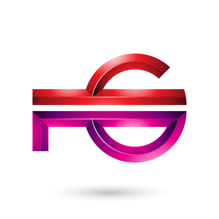 Vector Illustration of Red and Magenta Abstract Key-like Symbol isolated on a White Background Stock fotó - 111891387